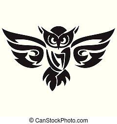 Black owl logo vector
