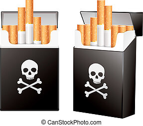 Black pack of cigarettes with the image of the Jolly Roger. ...