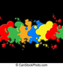 Black Paint Background Shows Colors Painting And Creativity...
