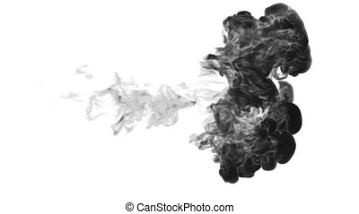 black paint dissolved in water on a white background. 3d render. voxel graphics. computer simulation 1. full HD