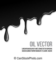 Black paint dripping isolated on white background.