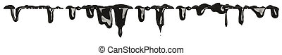 Black paint dripping isolated on white