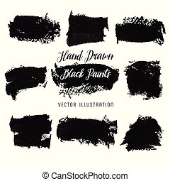 Black paint strokes. Abstract hand drawn blots of ink. Vector illustration.