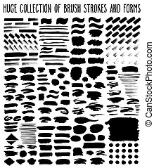 Black paint strokes - Huge collection of different black...