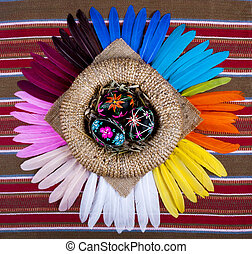 Black Painted Easter Eggs Basket Rainbow Feathers