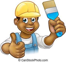 Black Painter Decorator Cartoon Character