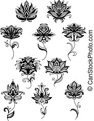 Black paisley flower design templates