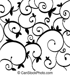 Black Paisley Outline Pattern on White Isolated....