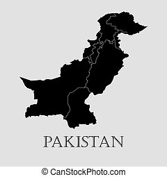 Black Pakistan map - vector illustration