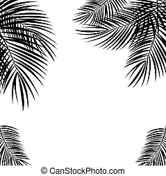 Black Palm Leaf on White Background. Illustration.