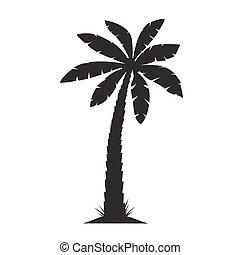 Black Palm Tree. Vector illustration on white background.
