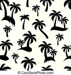 Black palm trees seamless pattern