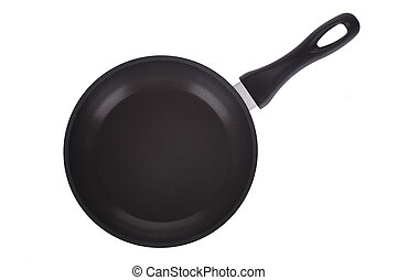 black round pan skillet isolated on white background
