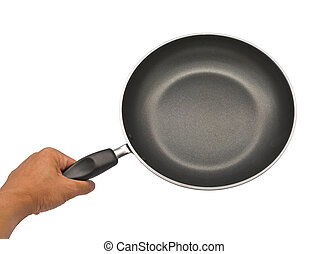 Black pan with handle