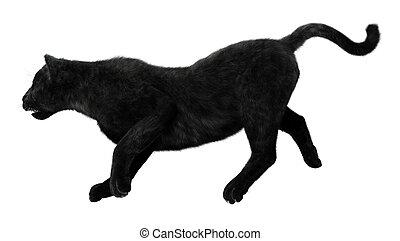 Black Panther - 3D digital render of a trotting black...