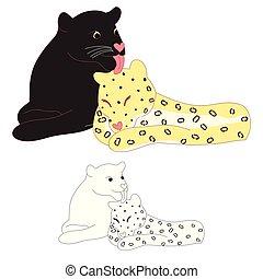 Black panther and Leopard Lover. Vector Illustration.