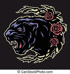 Black panther and roses.
