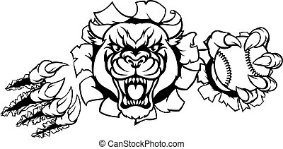 Black Panther Baseball Mascot Breaking Background