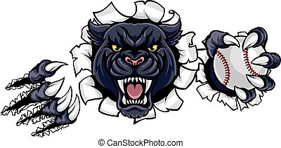 Black Panther Baseball Mascot Breaking Background - A black...