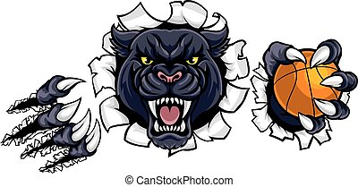 Black Panther Basketball Mascot - A black panther angry...