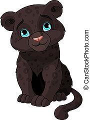 Black panther cub - Cute black panther cub