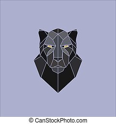 Black panther geometric illustration