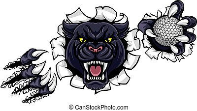 Black Panther Golf Mascot Breaking Background