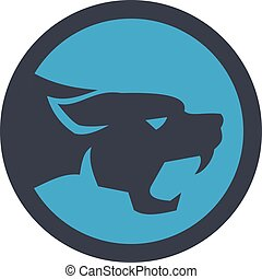 Black Panther Head Growling Circle Retro