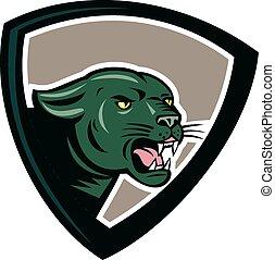 Black Panther Head Growling Shield Cartoon