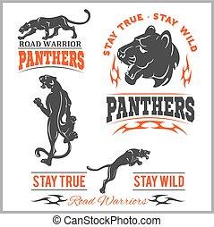 Black panther head. Mockup template animal symbol, logo, emblem or sticker for branding, printing, sports team.