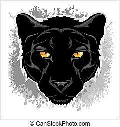 Black Panther head - on grunge background. - Black Panther...