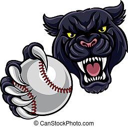 Black Panther Holding Baseball Ball Mascot