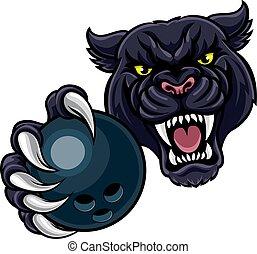 Black Panther Holding Bowling Ball Mascot