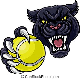 Black Panther Holding Tennis Ball Mascot