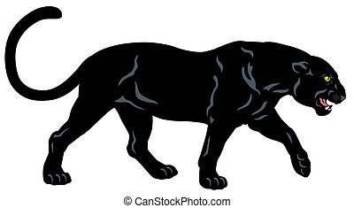 black panther , side view image isolated on white background...