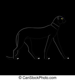Black Panther on a black background in Egyptian