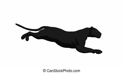 Black panther running on a white background