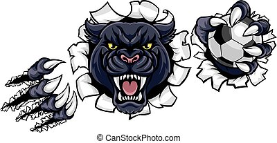 Black Panther Soccer Mascot Breaking Background