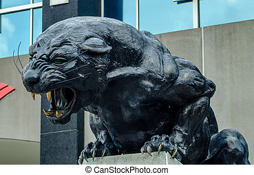 black panther statue - carolina panthers nfl football team...