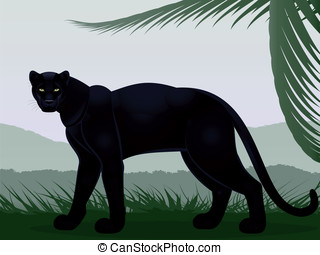 Black panther against the stylized landscape