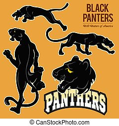 Black Panthers - vector set isoled