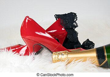 black panties on red high heel shoe