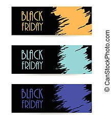 black paper banner with black friday design, vector illustration
