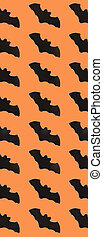 Black Paper Bats on orange background. Halloween concept. Banner for web design. Flat lay, top view, copy space, mockup