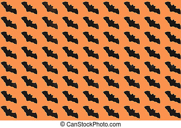 Black Paper Bats on orange background. Halloween concept. Flat lay, top view, copy space, mockup