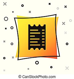 Black Paper check and financial check icon isolated on white background. Paper print check, shop receipt or bill. Yellow square button. Vector Illustration