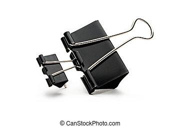 Black paper clips on white