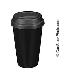 Black paper coffee cup