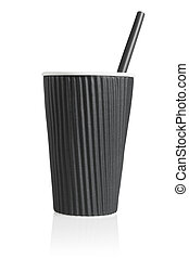 Black Paper Cup with Plastic Straw on White Background