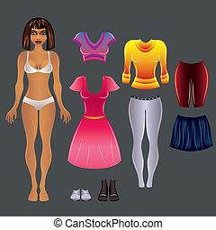 Black paper girl, dress up vector template - Beautiful black...